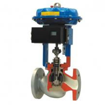 Pneumatic cage guided control valve