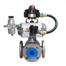 Pneumatic 4 way floating ball valve